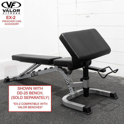 Image of Valor Fitness EX-2 Preacher Curl Accessory With Bench