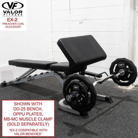 Image of Valor Fitness EX-2 Preacher Curl Accessory With DD-25 Bench