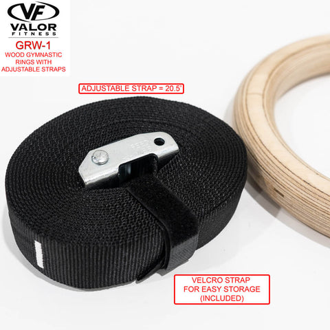 Image of Valor Fitness GRW-1 Wood Gym Rings Velcro Strap