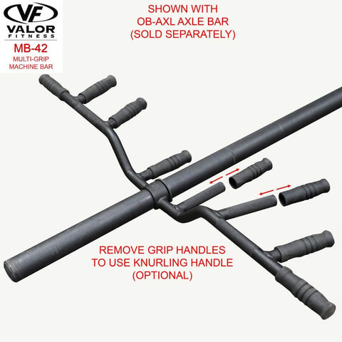 Image of Valor Fitness MB-42 Multi-Grip Machine Bar Removable Grip Handles