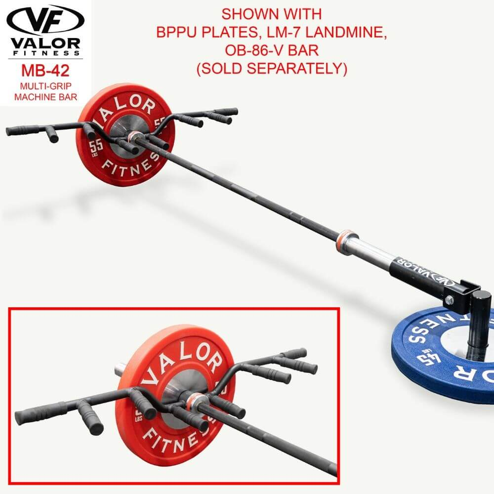 Valor Fitness MB-42 Multi-Grip Machine Bar With BPPU Plates