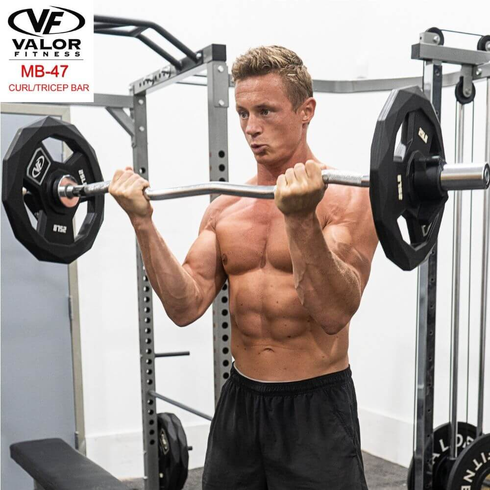 Valor Fitness MB-47 47_ Curl Bar With Collars Front View