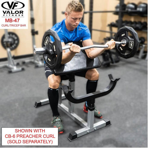Valor Fitness MB-47 47_ Curl Bar With Collars With CB-6 Preacher Curl