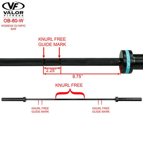 Image of Valor Fitness OB-80-W Womans Olympic Bar Knurl Free Guide Mark
