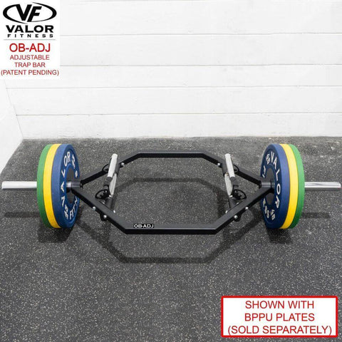 Valor Fitness OB-ADJ Adjustable Trap Bar Top Front View With BPPU Plates