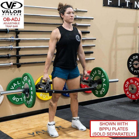 Valor Fitness OB-ADJ Adjustable Trap Bar With Female Model