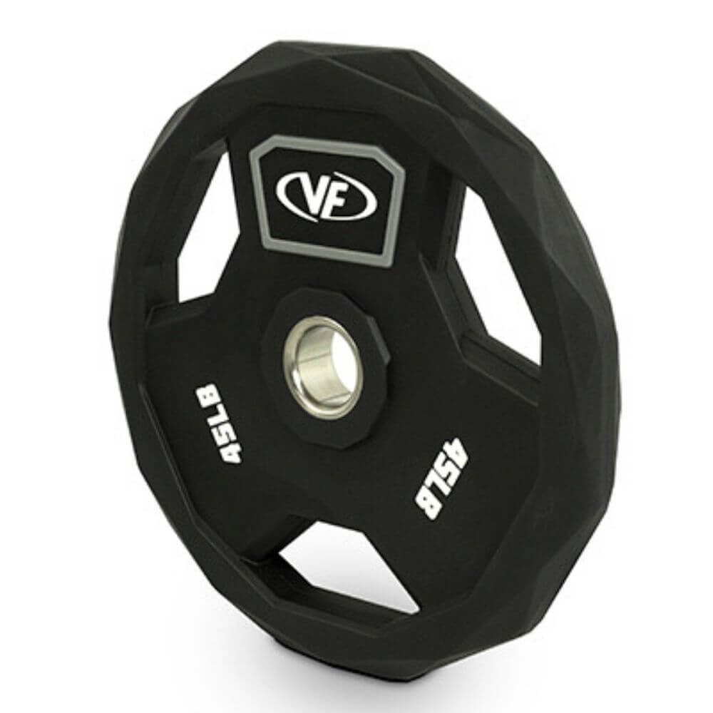 Valor Fitness OPPU Polyurethane Olympic Plates 45 Lbs Close Up View