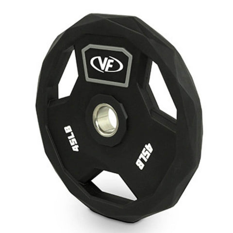 Image of Valor Fitness OPPU Polyurethane Olympic Plates 45 Lbs Close Up View