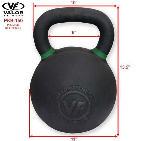 Image of Valor Fitness PKB ValorPRO Premium Kettlebells 150 Lbs Dimensions
