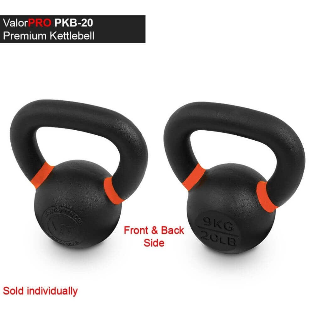 Valor Fitness PKB ValorPRO Premium Kettlebells 20 Lbs BAck And Side View