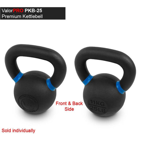 Valor Fitness PKB ValorPRO Premium Kettlebells 25 Lbs BAck And Side View