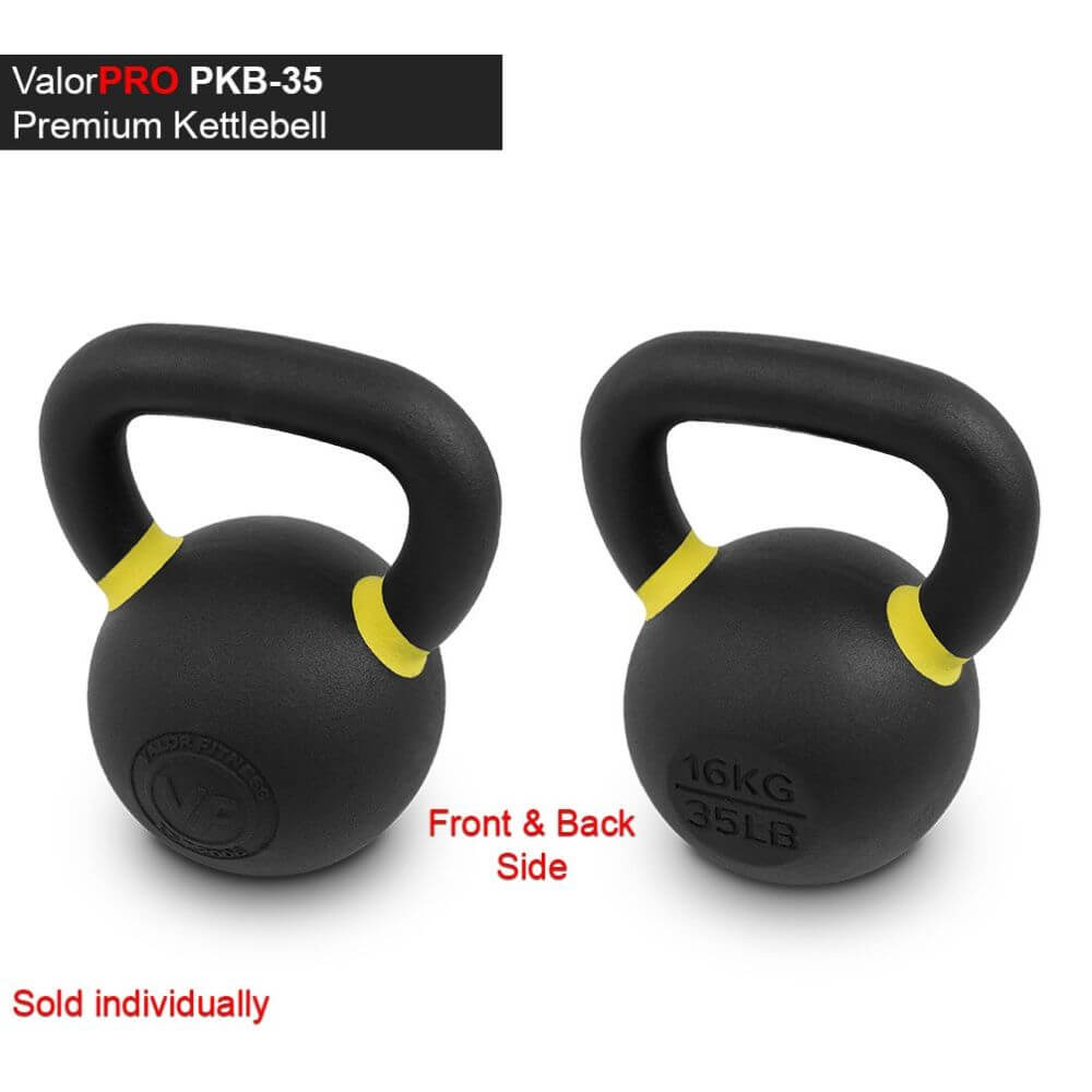 Valor Fitness PKB ValorPRO Premium Kettlebells 35 Lbs BAck And Side View