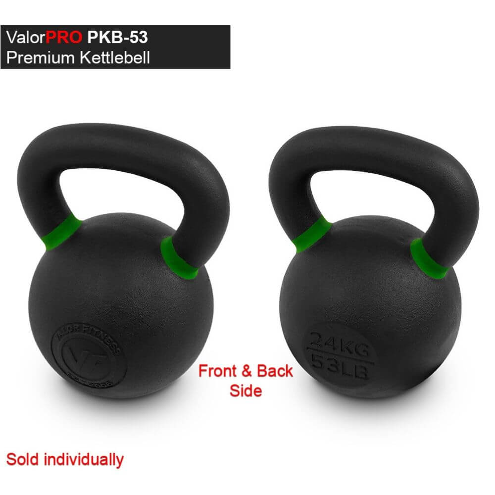 Valor Fitness PKB ValorPRO Premium Kettlebells 53 Lbs BAck And Side View