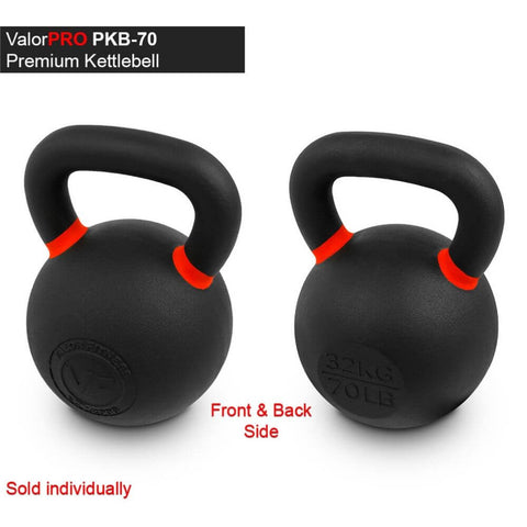 Valor Fitness PKB ValorPRO Premium Kettlebells 70 Lbs BAck And Side View