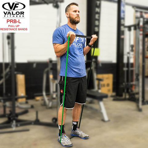 Image of Valor Fitness PRB-L-Green Pull Up Resistance Bands Bicep Curl