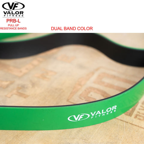 Image of Valor Fitness PRB-L-Green Pull Up Resistance Bands Double Color Band