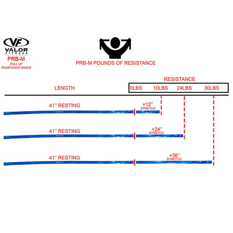 Image of Valor Fitness PRB-M-Blue Pull Up Resistance Bands Pounds Of Resistance