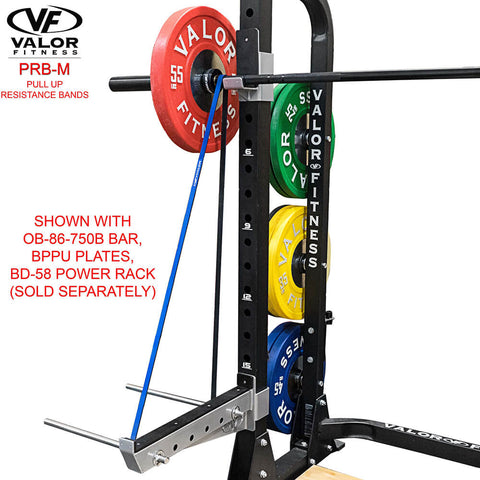 Image of Valor Fitness PRB-M-Blue Pull Up Resistance Bands With Power Rack