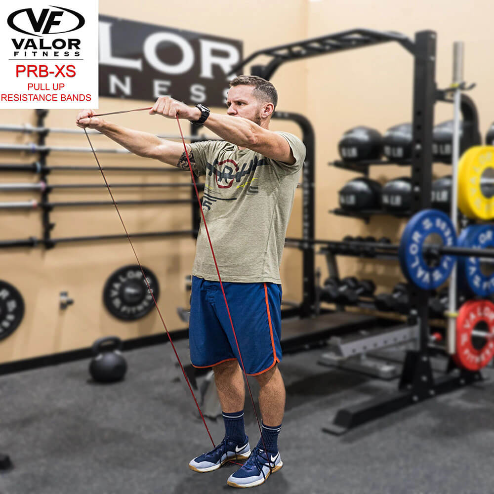 Valor Fitness PRB-XS-Red Pull Up Resistance Bands 3D View Stretch