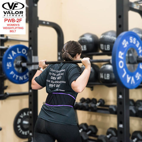 Image of Valor Fitness PWB-2F Womens Power Weightlifting Belt Back View Lifting