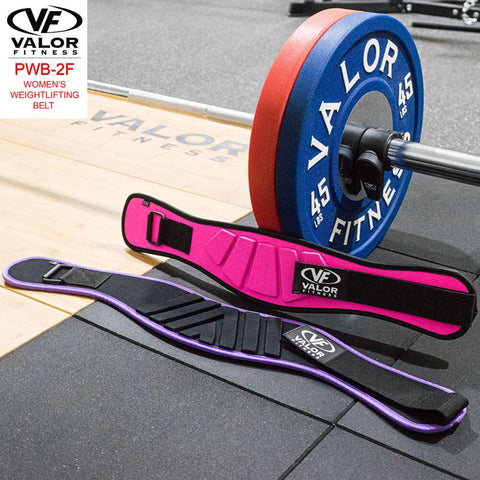 Image of Valor Fitness PWB-2F Womens Power Weightlifting Belt Close Up With Plates