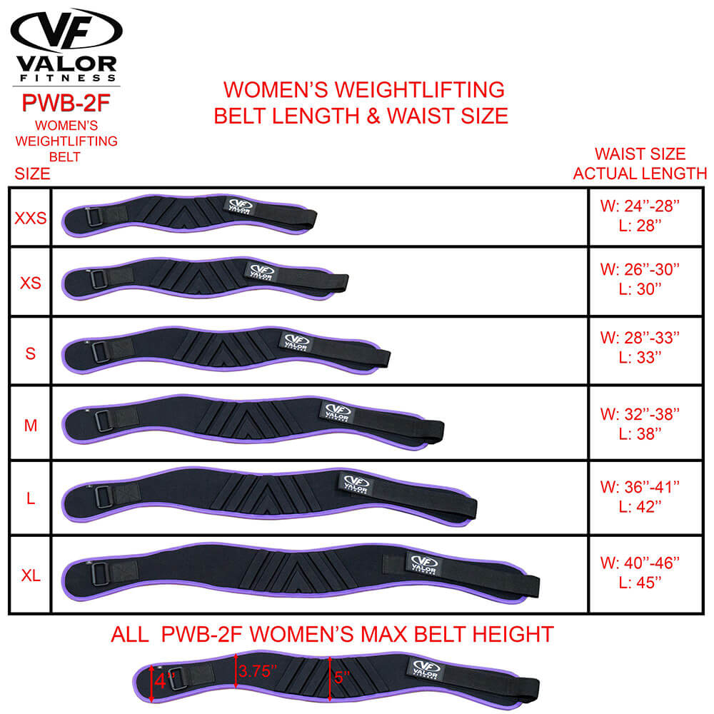 Valor Fitness PWB-2F Womens Power Weightlifting Belt Size Chart