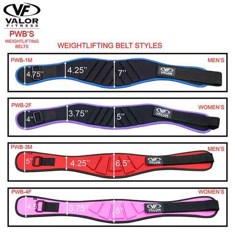 Image of Valor Fitness PWB-4F Womens Power Weightlifting Belt Styles