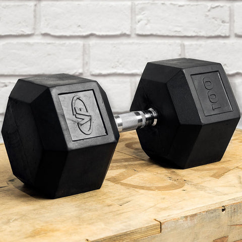 Image of Valor Fitness Rubber Hex Dumbbells RH 100lb Single 3D View
