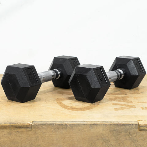 Image of Valor Fitness Rubber Hex Dumbbells RH 15lb Pair 3D View
