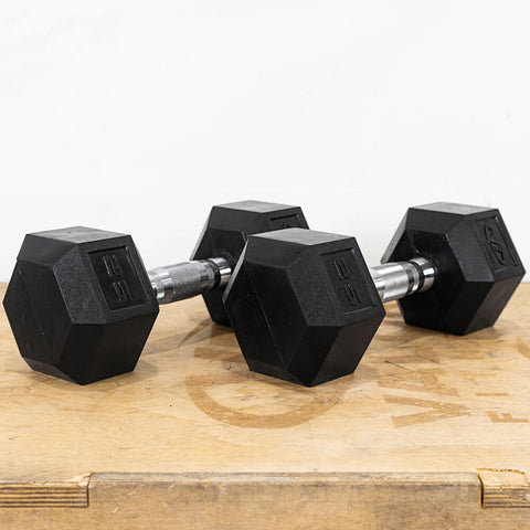 Image of Valor Fitness Rubber Hex Dumbbells RH 25lb Pair 3D View