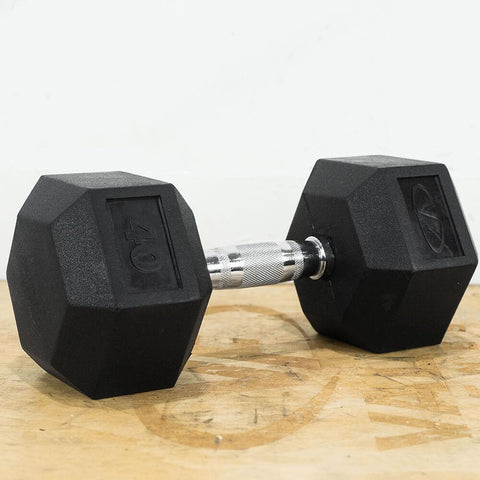 Image of Valor Fitness Rubber Hex Dumbbells RH 40lb Single 3D View