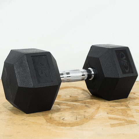 Image of Valor Fitness Rubber Hex Dumbbells RH 45lb Single 3D View