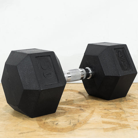 Image of Valor Fitness Rubber Hex Dumbbells RH 50lb Single 3D View
