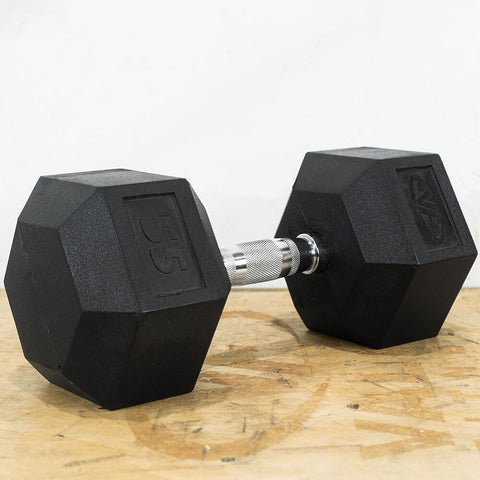Image of Valor Fitness Rubber Hex Dumbbells RH 55lb Single 3D View