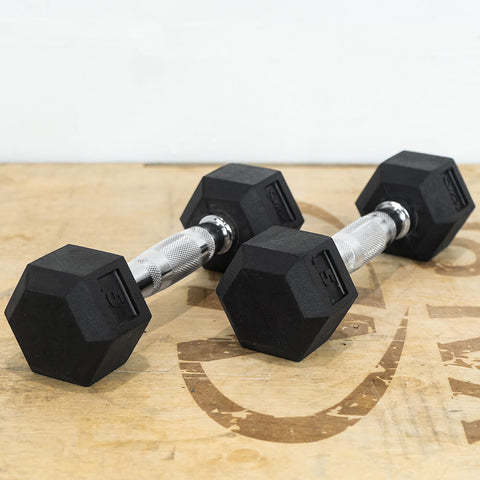 Image of Valor Fitness Rubber Hex Dumbbells RH 5lb Pair 3D View