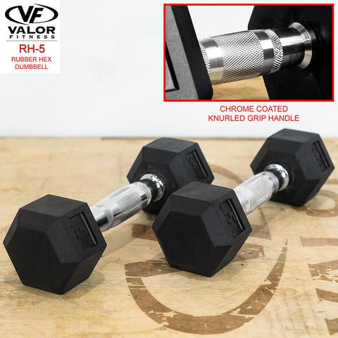 Image of Valor Fitness Rubber Hex Dumbbells RH 5lb Pair Knurl