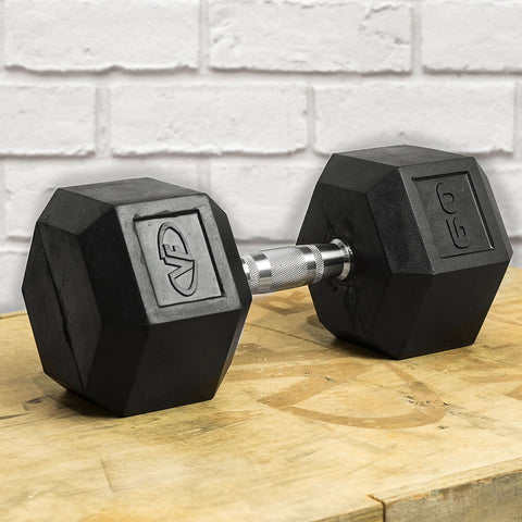 Image of Valor Fitness Rubber Hex Dumbbells RH 60lb Single 3D View