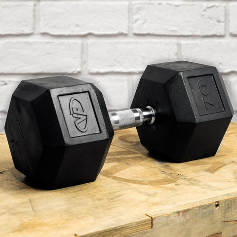 Image of Valor Fitness Rubber Hex Dumbbells RH 70lb Single 3D View