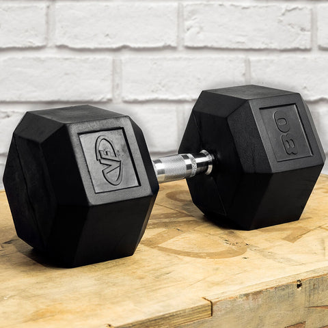Image of Valor Fitness Rubber Hex Dumbbells RH 80lb Single 3D View