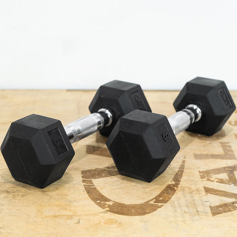Image of Valor Fitness Rubber Hex Dumbbells RH 8lb Pair 3D View