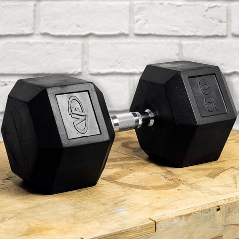 Image of Valor Fitness Rubber Hex Dumbbells RH 90lb Single 3D View