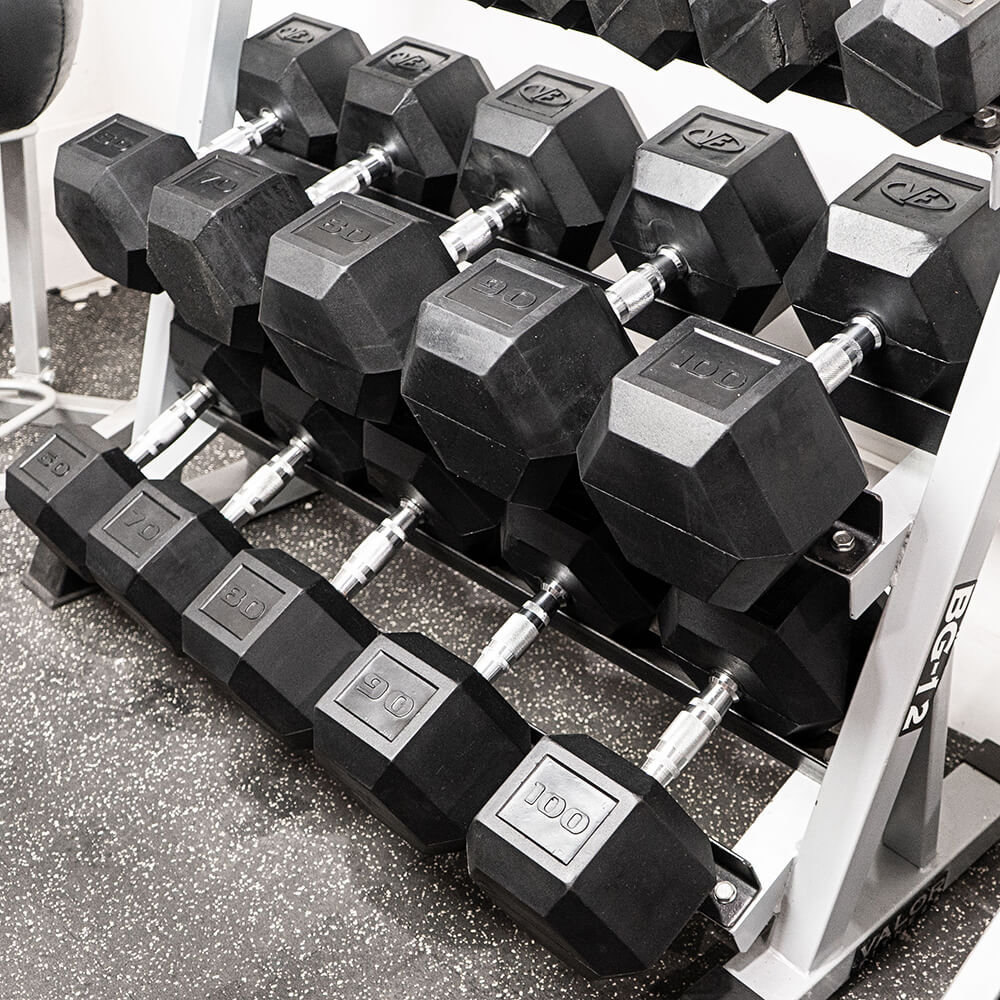 Valor Fitness Rubber Hex Dumbbells RH With Rack
