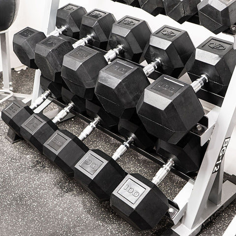 Image of Valor Fitness Rubber Hex Dumbbells RH With Rack