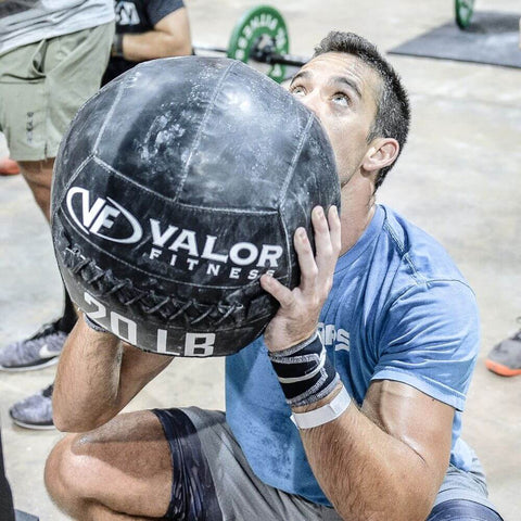 Image of Valor Fitness WBP ValorPRO Wall Balls Squatting Close Up