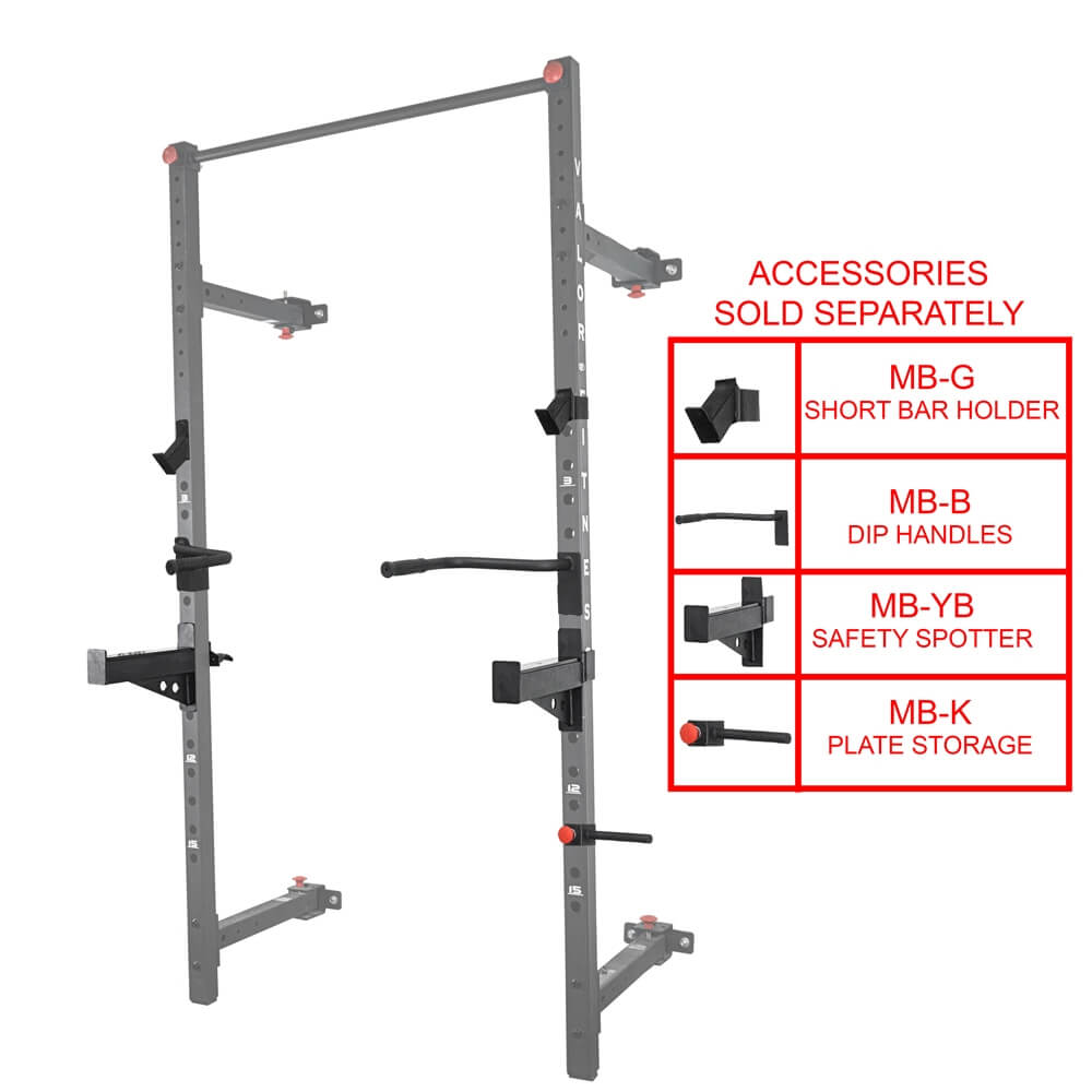 Valor Fitness Wall Mount Foldable Squat Rack BD-20 Accessories