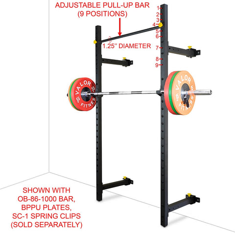 Image of Valor Fitness Wall Mount Foldable Squat Rack BD-20 Adjustable Pull Up Bar