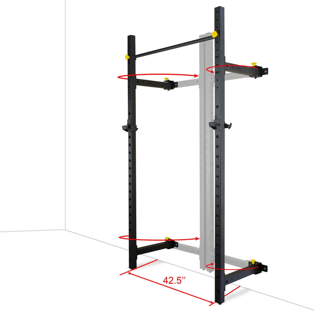 Valor Fitness Wall Mount Foldable Squat Rack BD-20 Dimension Base