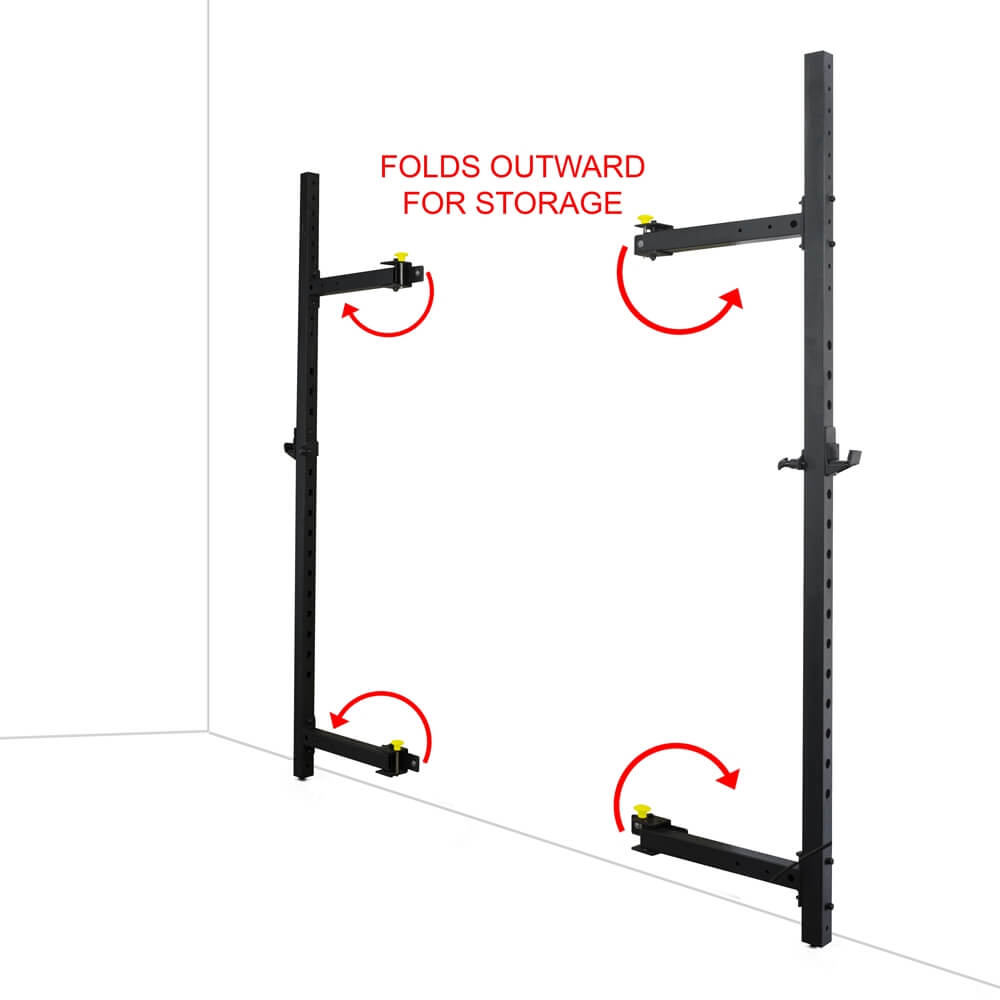 Valor Fitness Wall Mount Foldable Squat Rack BD-20 Folds Outward