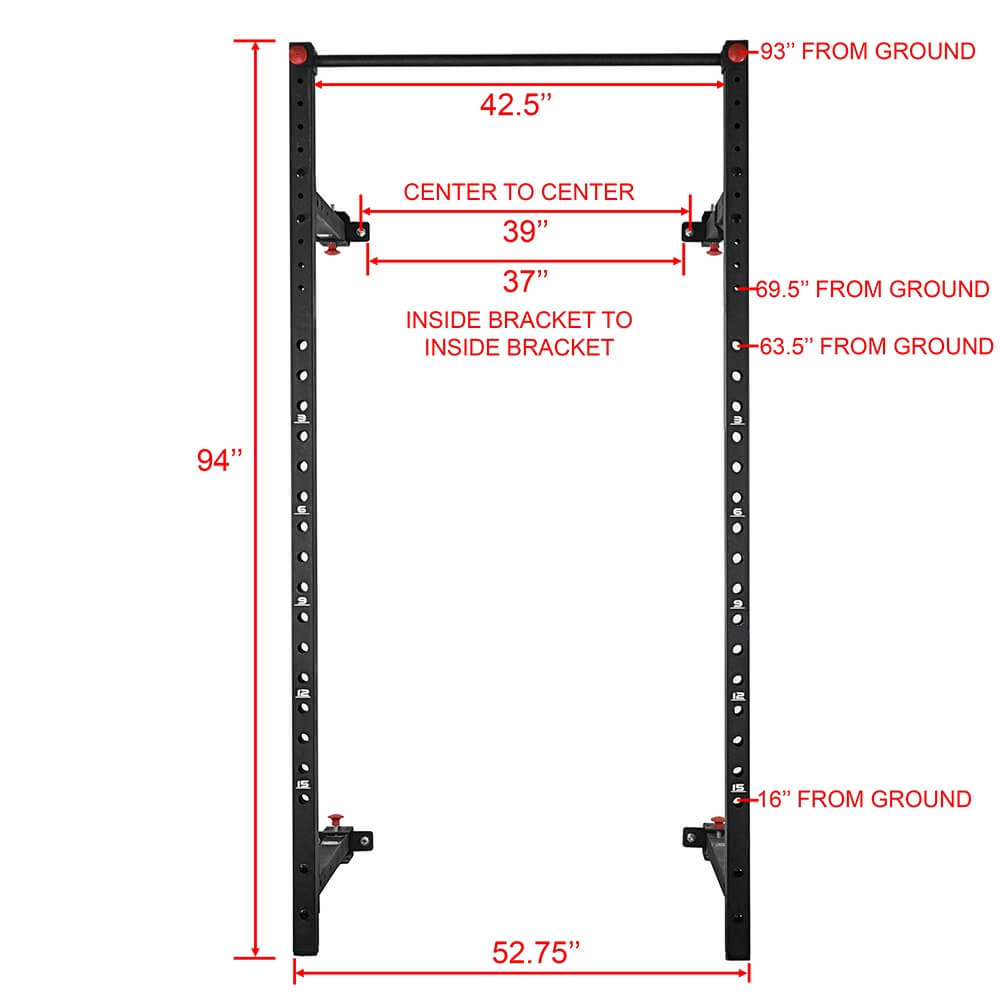 Valor Fitness Wall Mount Foldable Squat Rack BD-20 Front View