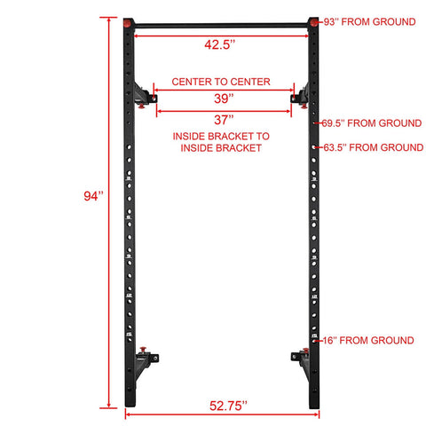 Image of Valor Fitness Wall Mount Foldable Squat Rack BD-20 Front View